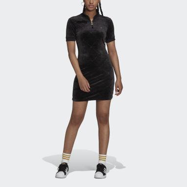 Short Sleeve Dress with High Collar in Velvet with Embossed adidas Originals Monogram Czerń