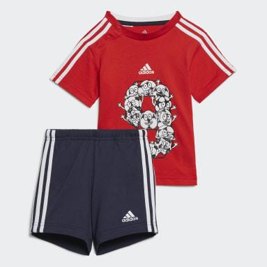 красный Комплект: шорты и футболка Lil 3-Stripes Sporty Summer