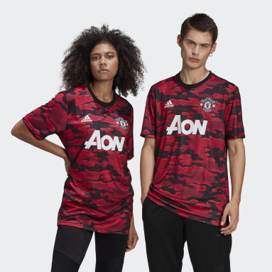 Men Football Red Manchester United Pre-Match Jersey