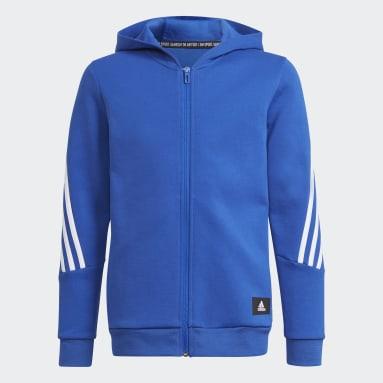 Boys Training Blue Future Icons 3-Stripes Full-Zip Hoodie