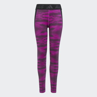 Girls Gym & Training Pink Techfit AEROREADY Warm Reflective Stretch Leggings