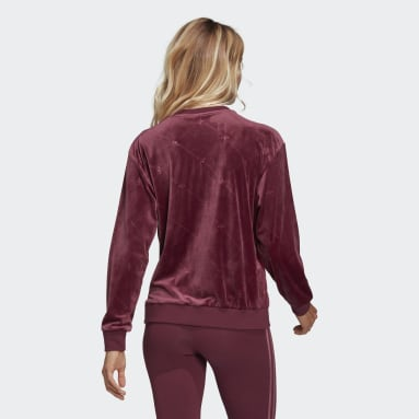 Women Originals Burgundy Velvet Sweatshirt with Embossed adidas Originals Monogram