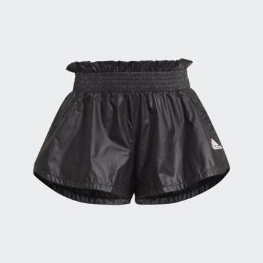 Girls Training Black Primegreen Dance Move Comfort Loose Shiny Shorts