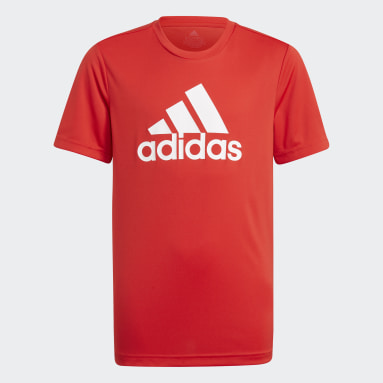 Polera adidas Designed To Move Big Logo Rojo Niño Training