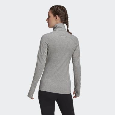 T-shirt AEROREADY Designed 2 Move Cotton Touch 1/2-Zip Long Sleeve Gris Femmes Running