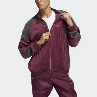Men Originals Burgundy adidas SPRT Firebird Velour Track Top