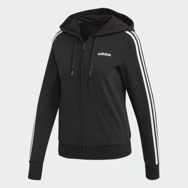 Women Sport Inspired Black Essentials 3-Stripes Hoodie