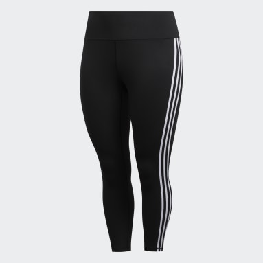 Kvinder HIIT Sort Believe This 3-Stripes 7/8 Plus Size tights