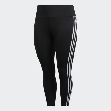 Women's Yoga Black Believe This 3-Stripes 7/8 Tights (Plus Size)