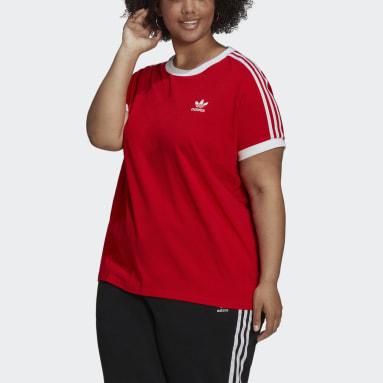Women's Originals Red Adicolor Classics 3-Stripes Tee (Plus Size)