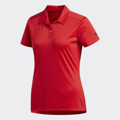 Polo 3-Stripes Shoulder Sport Rouge Femmes Golf