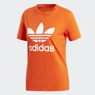 Camiseta Trefoil Naranja Mujer Originals