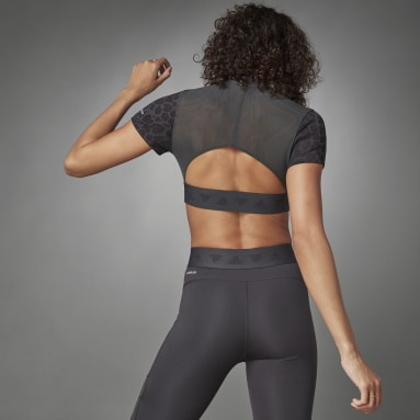 Camiseta Hyperglam Crop Zip Multicolor Mujer Running
