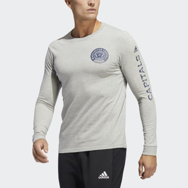 Men's Hockey Grey Capitals Long Sleeve Tee