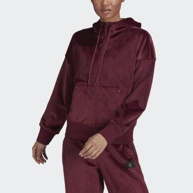 Felpa con cappuccio adidas Sportswear Future Icons Corduroy Bordeaux Donna Sportswear