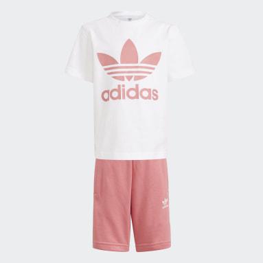 Kinderen Originals Wit Adicolor Short en T-shirt Set
