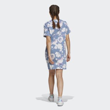 синий Платье