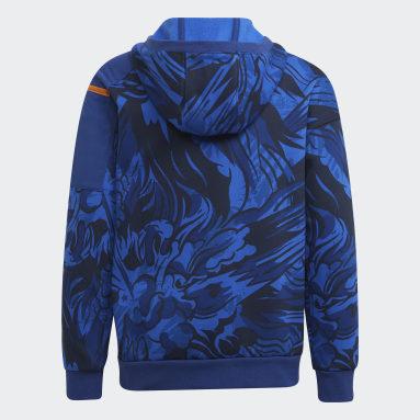Boys Fitness Og Træning Blå ARKD3 Warm Fleece hættetrøje