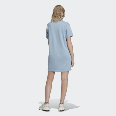 Dames Originals Blauw Adicolor Shattered Trefoil T-shirt Jurk