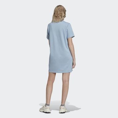 Women Originals Blue Adicolor Shattered Trefoil Tee Dress