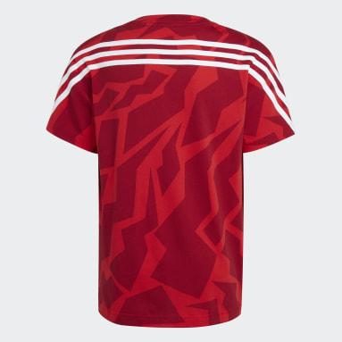 T-shirt Future Icons 3-Stripes Rosso Ragazzo Fitness & Training
