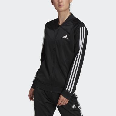 Women's Essentials Black Primegreen Essentials Warm-Up 3-Stripes Track Jacket