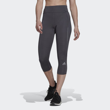 Mallas 3/4 Own The Run Running Gris Mujer HIIT