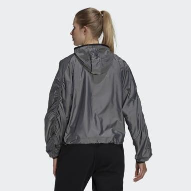 Women's Essentials Black adidas x Zoe Saldana Hooded Windbreaker