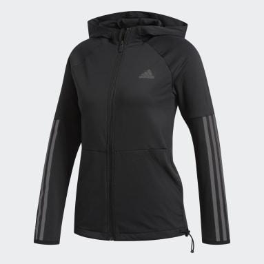 Chaqueta con capucha 3 bandas Negro Mujer Running