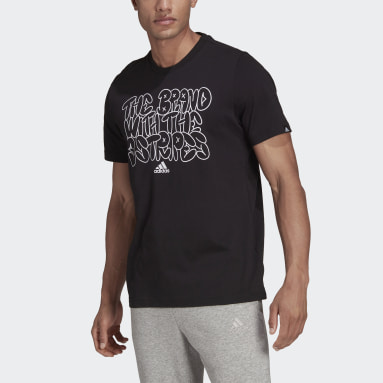 Men Sport Inspired Black The Brand With the Three Stripes Doodle Graphic Tee