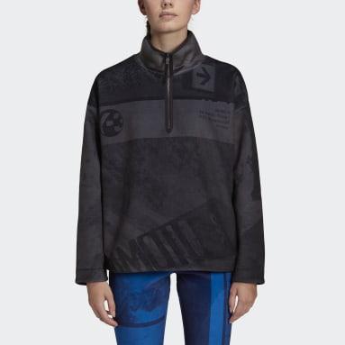 Y-3 Velvet Spacer Zine Allover Print Half Zip Sweatshirt Nero Donna Y-3