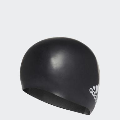 Swimming Black Silicone Logo Swim Cap