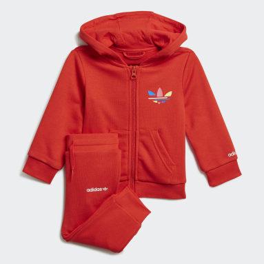 Conjunto pantalón y chaqueta con capucha Adicolor Rojo Niño Originals