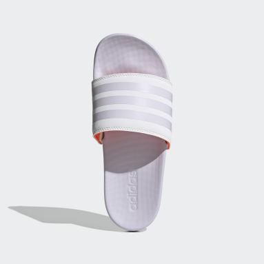 белый Шлепанцы adilette Cloudfoam Plus Stripes