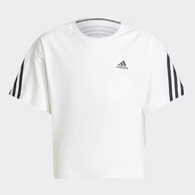 Youth Training White Organic Cotton Future Icons Sport 3-Stripes Loose Tee