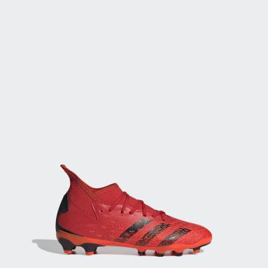 Děti Fotbal červená Kopačky Predator Freak.3 Multiground
