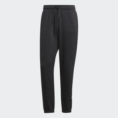 Men Sport Inspired Black Essentials Linear Tapered Pants