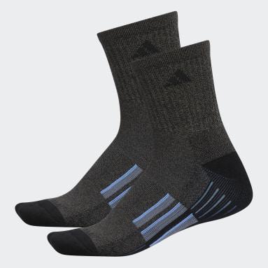 Men's Running Black Cushioned Mid-Crew Socks 2 Pairs