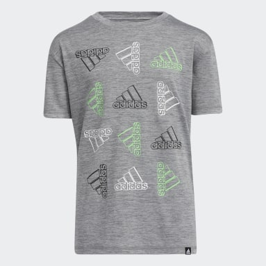Youth Training Grey Offset Badge of Sport Tee
