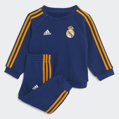 Kinder Fußball Real Madrid 21/22 3-Streifen Baby-Jogginganzug Blau