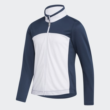 Youth Golf Blue Girls' Colorblock Full-Zip Layer