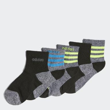 Children Training Black 3-Stripes Quarter Socks 6 Pairs