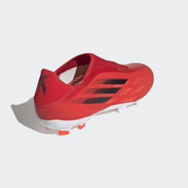 Zapatos de Fútbol X Speedflow.3 Sin Cordones Terreno Firme Rojo Fútbol