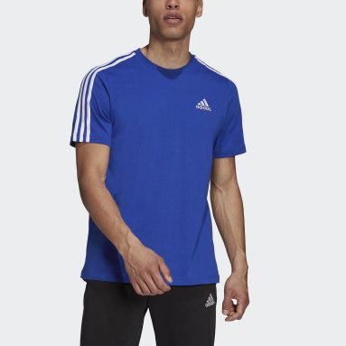 Men Sport Inspired Blue Essentials 3-Stripes Tee