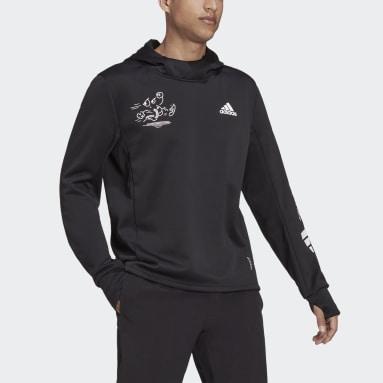 Felpa con cappuccio da running adidas Signature Nero Uomo Running