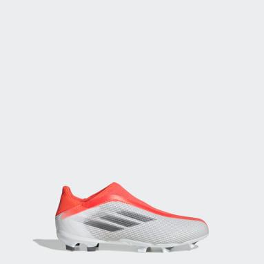 Zapatos de Fútbol X Speedflow.3 Sin Cordones Terreno Firme Blanco Niño Fútbol