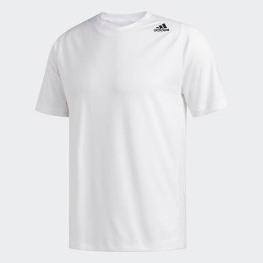 Men's Baseball White FreeLift Sport Fitted 3-Stripes Tee