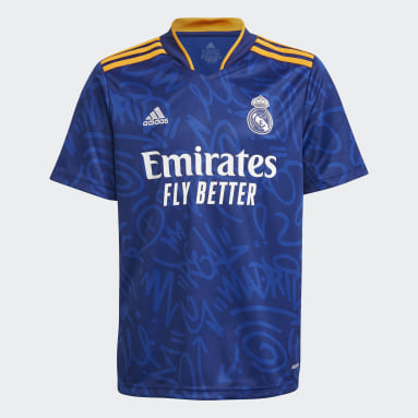 Kinder Fußball Real Madrid 21/22 Auswärtstrikot Blau