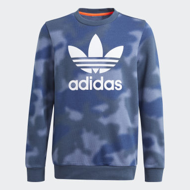 Youth Originals Blue Allover Print Camo Crew Sweatshirt