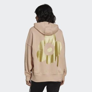 Women Originals Pink Marimekko Oversize Hoodie with Golden Flower Graphic